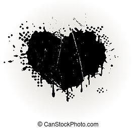 grungy, hart formeerde, splat, inkt