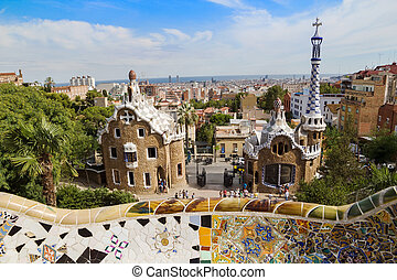 guell, ingang, zonnig, park, day., spain., barcelona's, pavilions