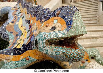 guell, park, barcelona, draak, gebeeldhouwd kunstwerk, spanje