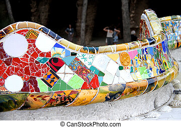 guell, serpentine, park, barcelona, bankje