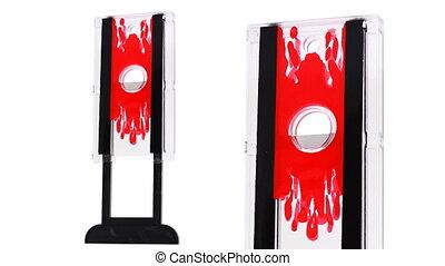 guillotine, draaien, witte , speelbal, brandpunt
