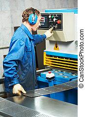 guillotine, machine, arbeider, het werken, schaar
