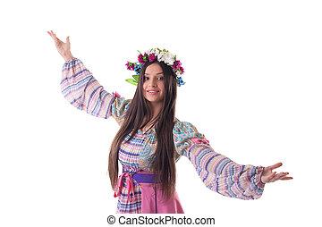 guirlande, dans, jonge, kostuum, russische , meisje
