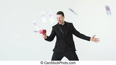 gun., vertragen, zakelijk, gegooi, geld, kostuum, geld., contant, innemend, motie, succesvolle , kanon, lottery., of, man