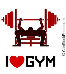 gym, liefde, symbool