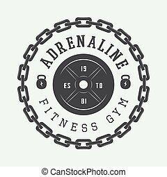 gym, logo, style., ouderwetse