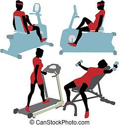 gym, vrouwen, machines, oefening, fitness