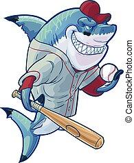 haai, honkbal, spotprent, betekenen