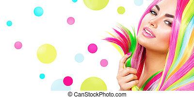 haar, beauty, kleurrijke, makeup, spijker, verticaal, pools, meisje