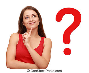 haar, denken, vraag, op, meldingsbord, het kijken, meisje, rood