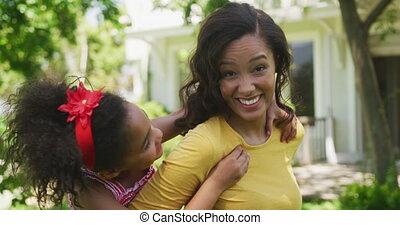 haar, dochter, verticaal, vrouw, afrikaanse amerikaan