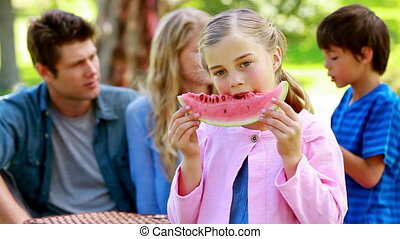 haar, eten, achtergrond, meisje, watermeloen, gezin