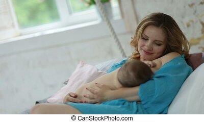 haar, het kijken, moeder, baby meisje, schattige, hartelijk