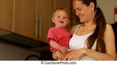 haar, houden, jonge, moeder, baby, keuken