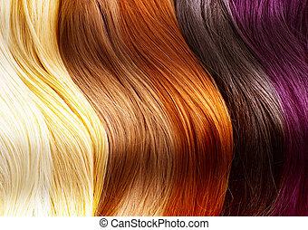 haar, kleuren, palet