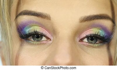 haar, makeup, bewegingen, kleurrijke, gekke , mooi, eyebrow., vrouw