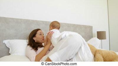 haar, meisje, moeder, schattig, baby, spelend