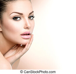 haar, meisje, spa, gezicht, portrait., aandoenlijk, mooie vrouw, beauty