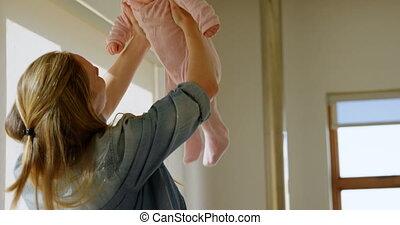 haar, moeder, baby jongen, 4k, spelend