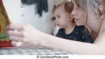 haar, moeder, baby, onderwijs, meisje, home.