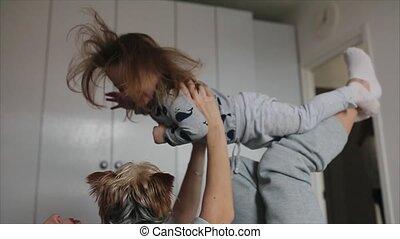 haar, moeder, samen, kind, meisje, spelend