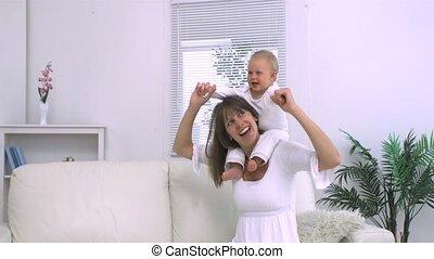 haar, moeder, th, kind gespeel