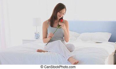 haar, prachtig, roos, ruiken, vrouw