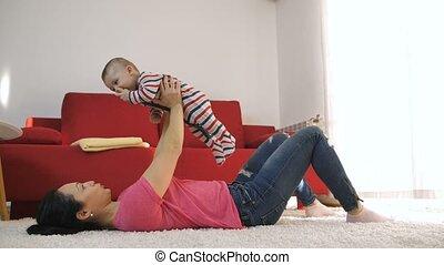 haar, zoon, plezier, moeder, baby, thuis, hebben
