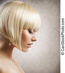 haircut., hairstyle, meisje, hair., gezonde , blonde , kort, mooi