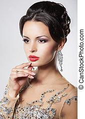 hairstyle, avond, elegant, vrouw, earrings., verticaal