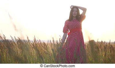 hairstyle, concept, haar, lippen, brunette, verticaal, meisje, groot, dress., silhouette, nature., akker, mooi, sterke, rood, vrouw, develops, vertragen, video., levensstijl, motie, ondergaande zon , wind