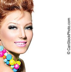 hairstyle, mode, kleurrijke, beauty, makeup, verticaal, meisje