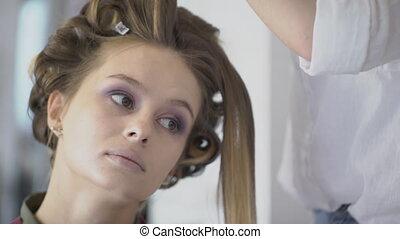 hairstyle, vrouw, begaafd, beauty, seated, salon., stilist