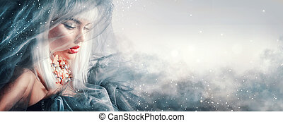 hairstyle, vrouw, winter, beauty, makeup, portrait.