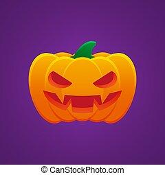 halloween, dommekracht, pompoen, lantaarntje, o, emoticon, uitdrukking, boos
