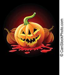 halloween, hefboom-o-lantaarn, bloed, pompoen