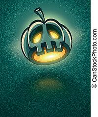 halloween, hoofd, hefboom-o-lantaarn, verschrikkelijk, kaart