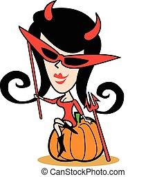 halloween, meisje, kunst, kostuum, klem