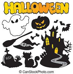 halloween, silhouettes, 2, set