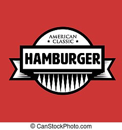 hamburger, classieke, postzegel, ouderwetse , -, amerikaan