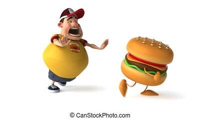 hamburger, dik, geitje