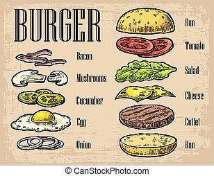 hamburger, ingredienten, black , achtergrond.