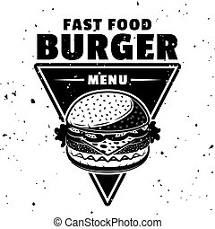 hamburger, ouderwetse , monochroom, embleem, stijl, vector