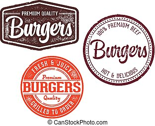 hamburger, postzegels, vector, verzameling