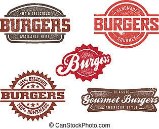 hamburger, stijl, postzegels, classieke