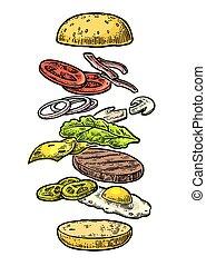 hamburger, witte , ingredienten, achtergrond.