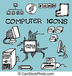 hand-drawn, set, de pictogrammen van de computer