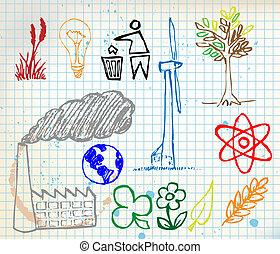 hand-drawn, set, ecologie, kleurrijke, iconen