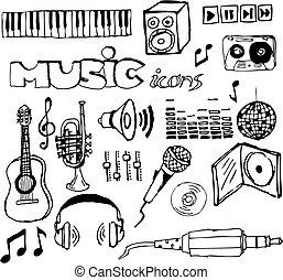 hand-drawn, set, muziek, iconen