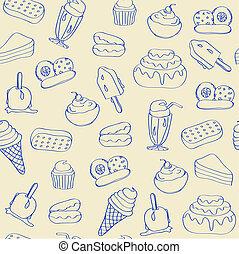 hand, getrokken, seamless, iconen, dessert